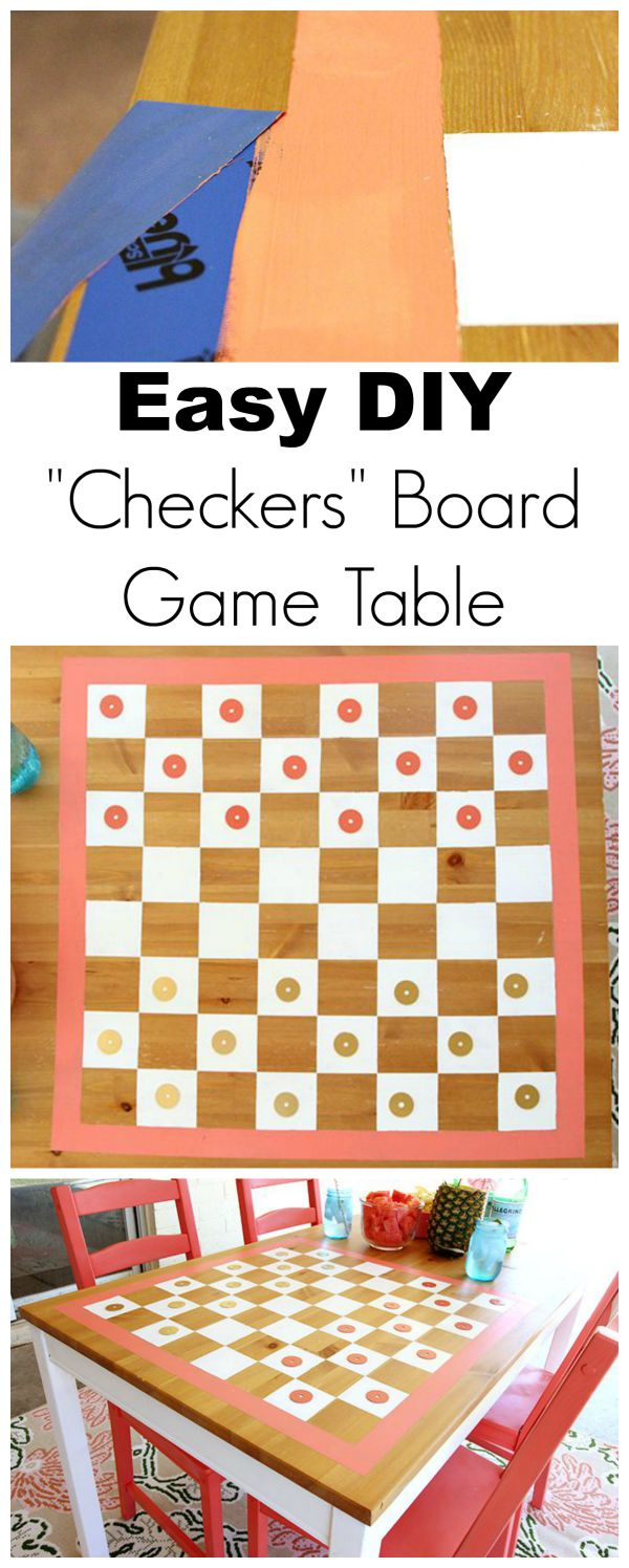 Easy DIY Checkers Board Game Table - www.classyclutter.net