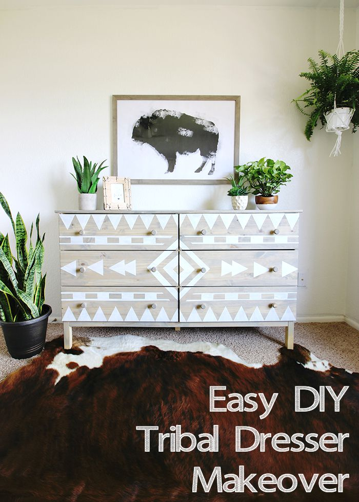 Easy DIY Tribal Dresser Makeover