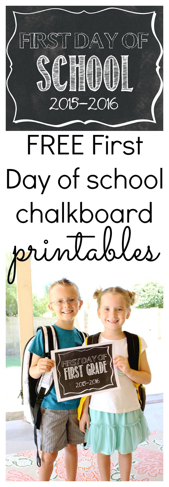 Free First Day of School Printables - Click to print yours - www.classyclutter.net