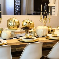 DIY Halloween Tablescape and Embellished Faux Pumpkins