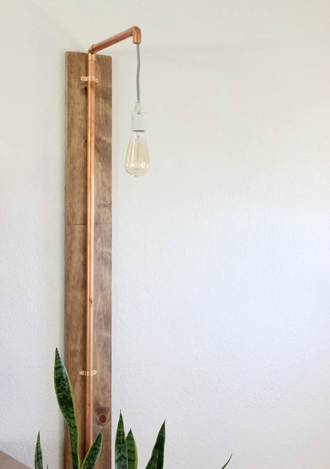 DIY Copper Wall Sconce - Click for tutorial