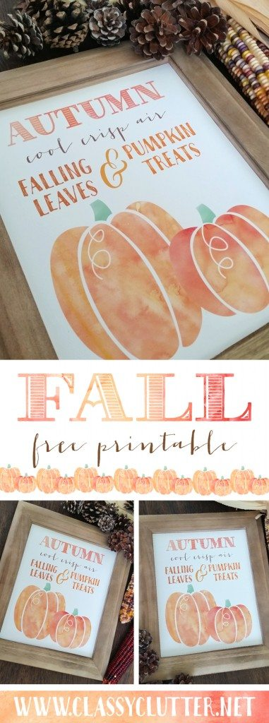 Fall Pumpkin Printable by Paperelli for Classy Clutter