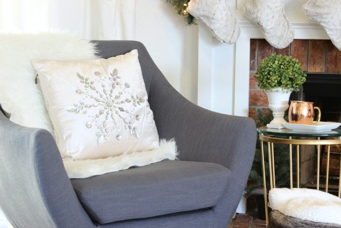 Rhinestone Snowflake Pillow