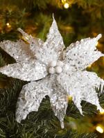 Beaded Poinsettia Clip Ornaments