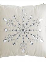 Velvet Rhinestone Snowflake Pillow