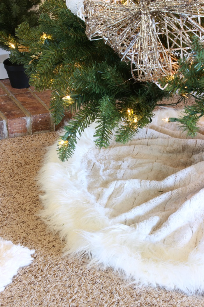 Faux Fur Christmas Tree Skirt. Affordable Rustic Glam Blue ...
