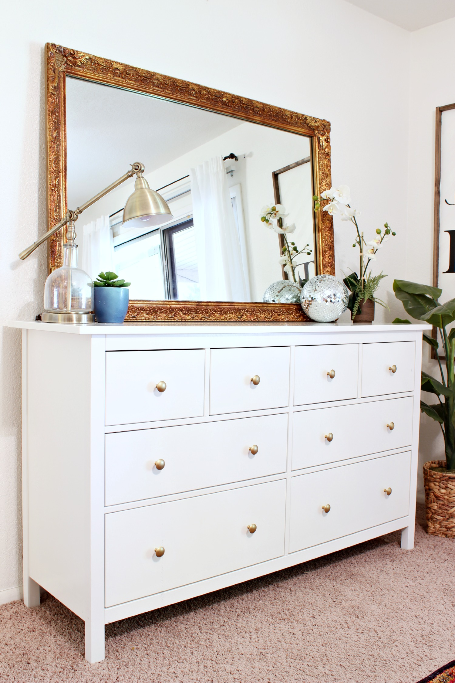 Beautiful White Dresser with antique gold mirror - www.classyclutter.net