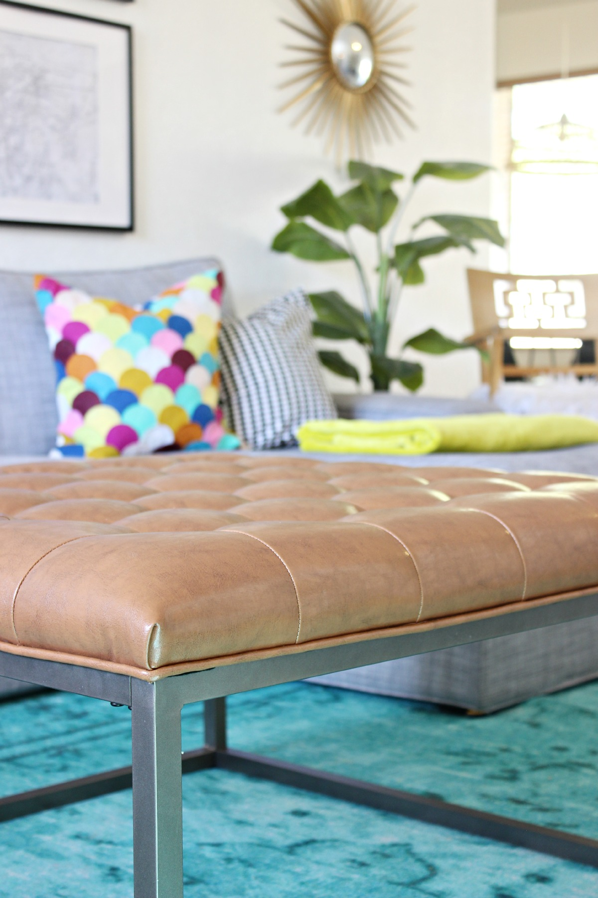 Brown Tufted Ottoman