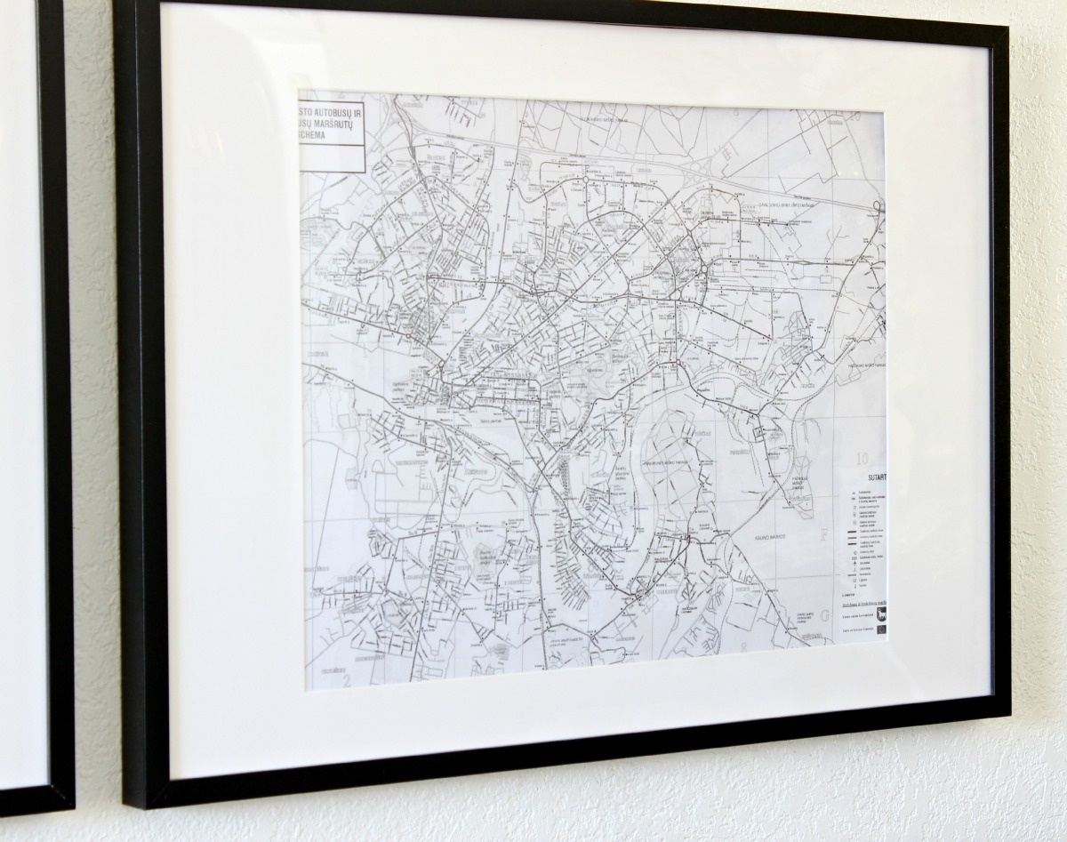 Frame Black and White Maps for inexpensive art - www.classyclutter.net