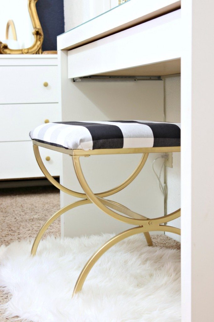 Buffalo Check Vanity Stool Makeover How To Recover A Seat Cushion