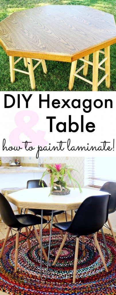 DIY Hexagon Table & how to paint laminate! Click for tutorial!