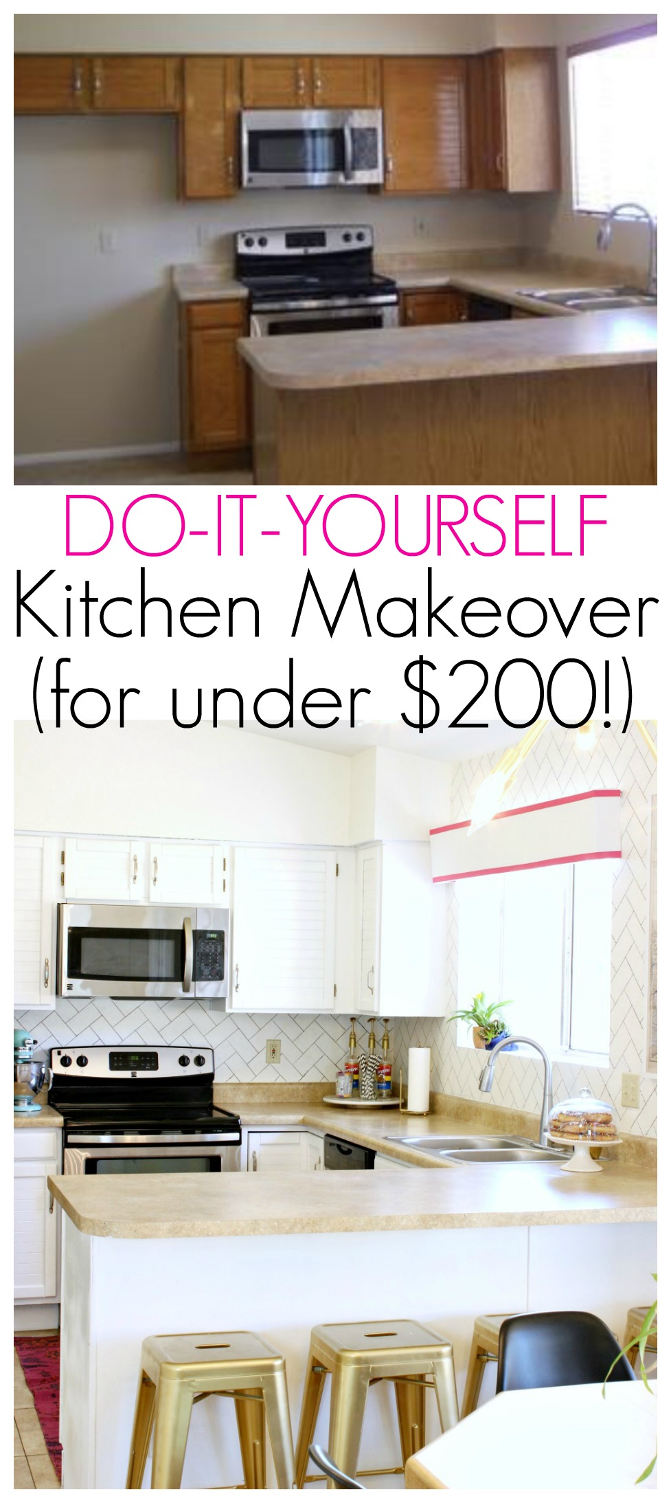 DIY Kitchen Makeover for under $200 - Click for more!
