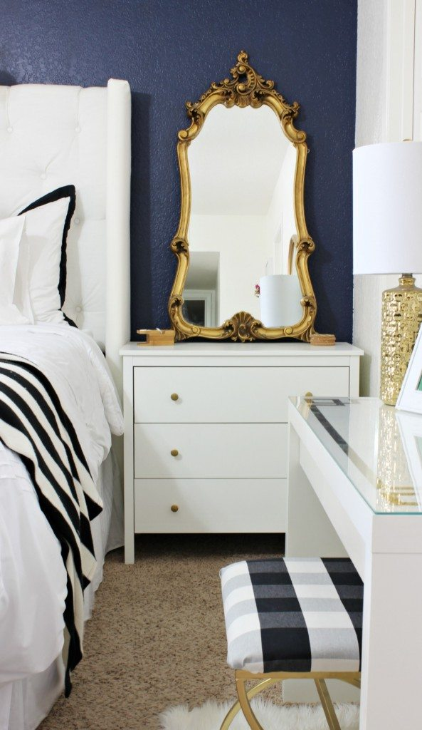 Side Table with Gold Mirror