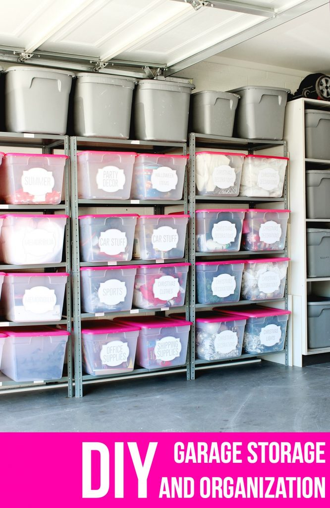 LOVE this garage organization! The labels and bins are amazing! Click for tutorial!