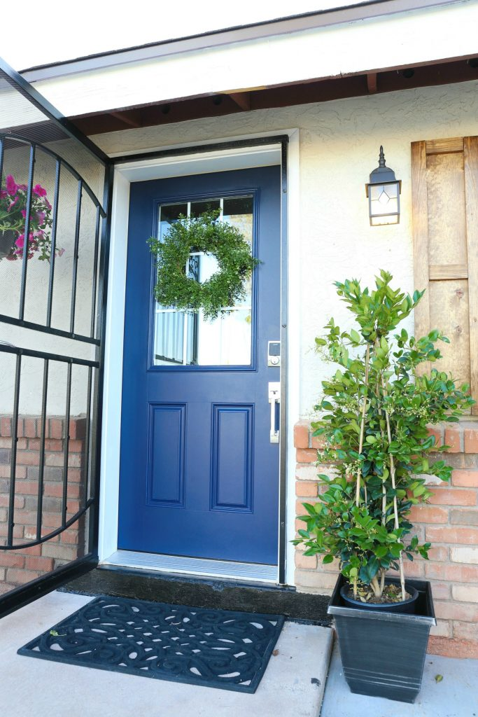 Boxwood Wreath Front Door Curb Appeal