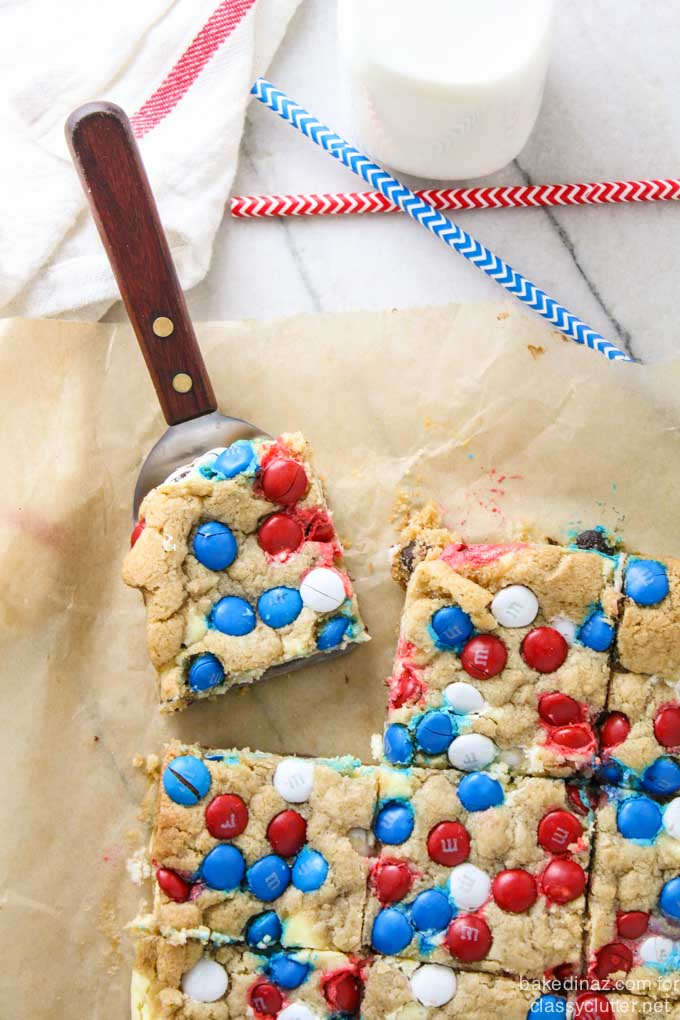Patriotic Chocolate Chip Cookie Cheesecake Bar
