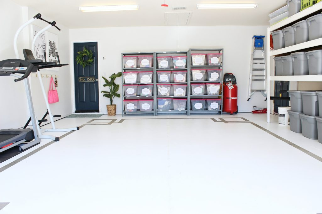 Organized garage with concrete floor paint design