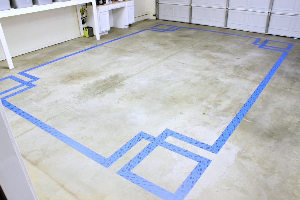 Concrete Floor Paint Taped Design