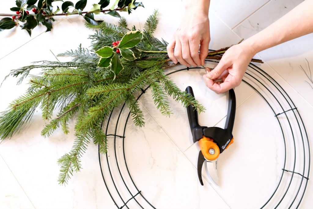 use-wire-to-attach-to-wreath-form