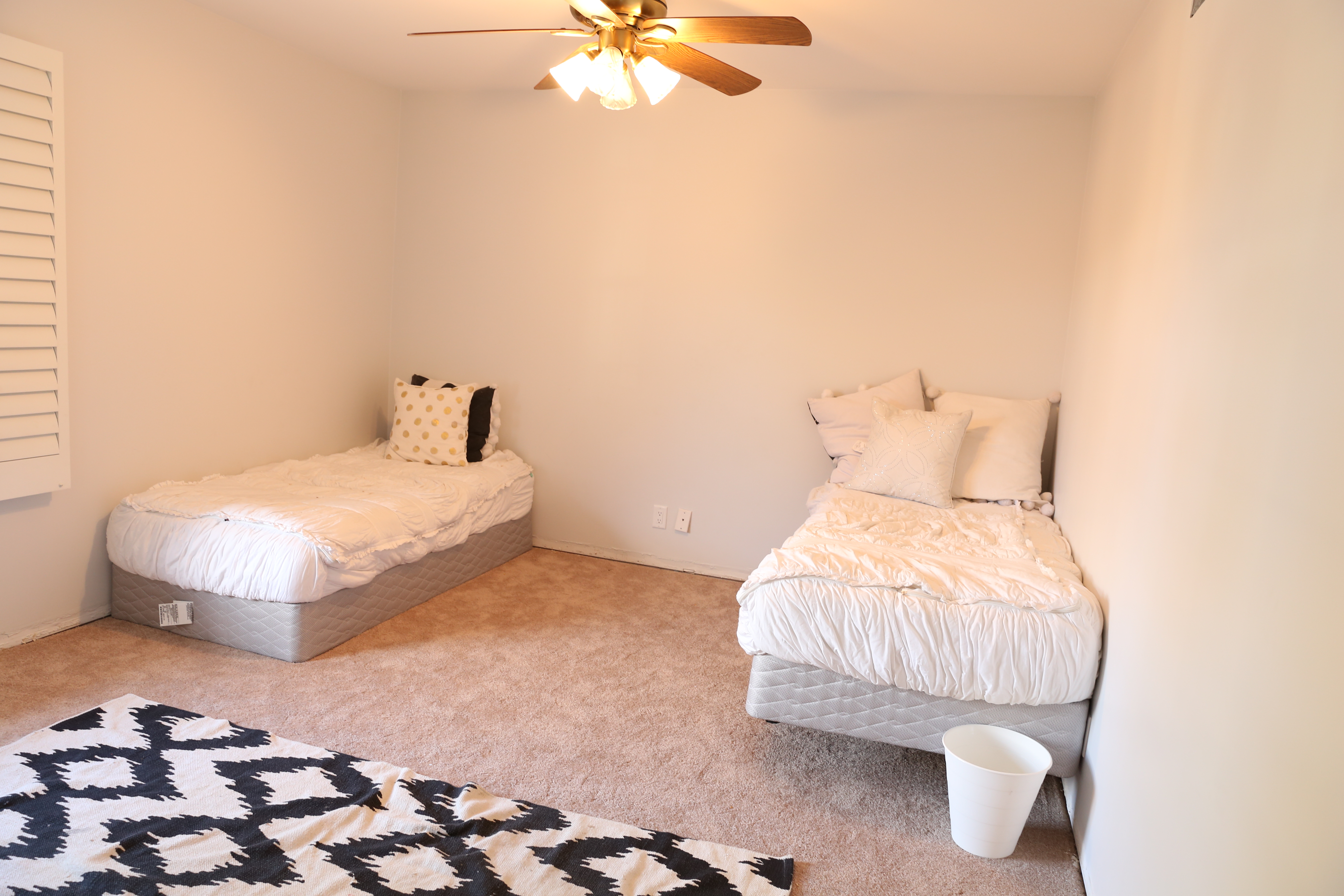 It was a very very plain room with brown carpet  When we first moved in we  had a million projects going on so the kids room sat with just the beds for. Girls Bedroom Makeover  Colorful and Cute    Classy Clutter