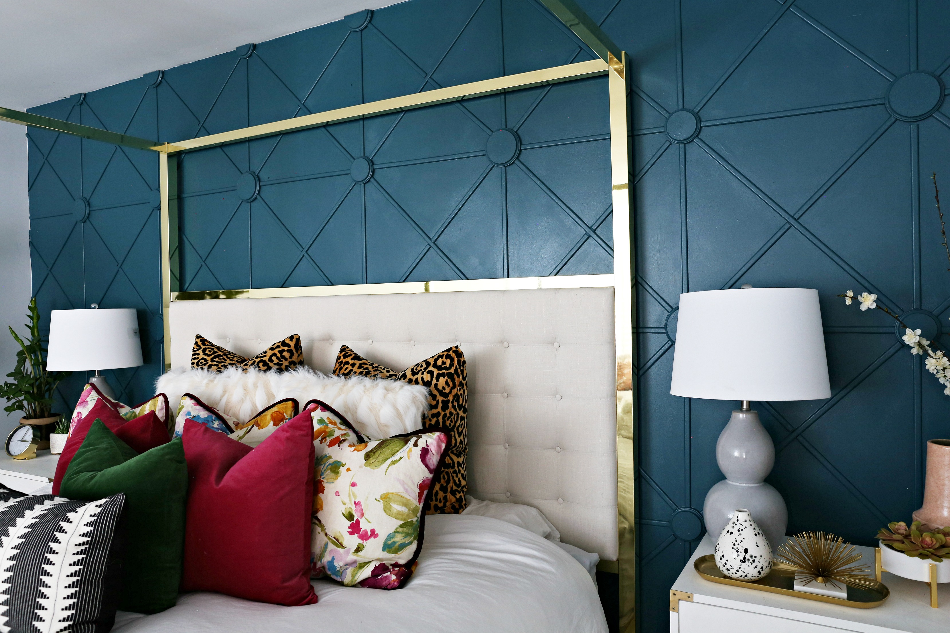 master bedroom makeover with awesome accent wall - classy clutter