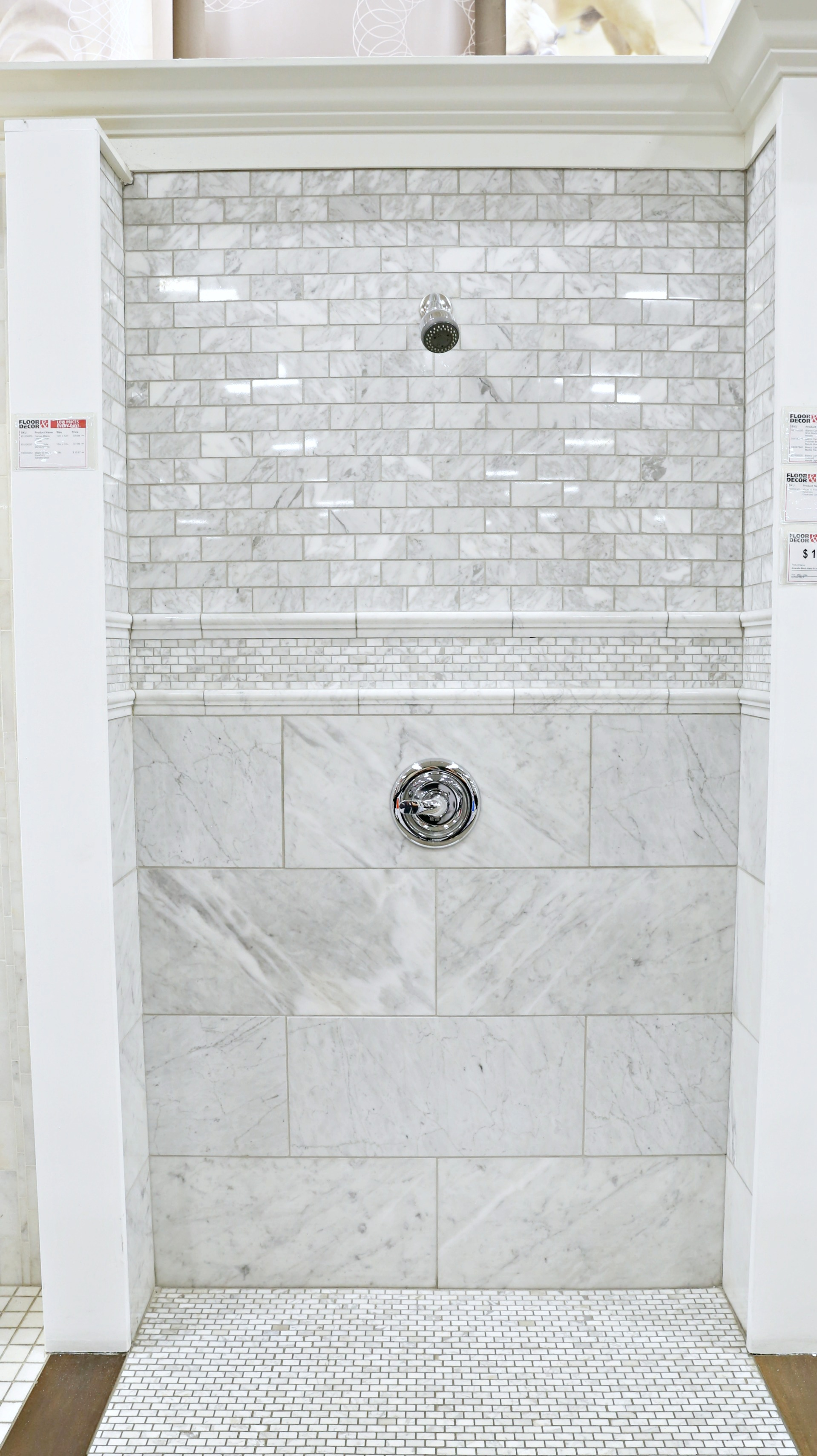 Amazing floor decor store tour classy clutter i was planning on doing a shower with one tile design on the wall and one tile design on the floor until i saw this display i love the variety and detail dailygadgetfo Image collections