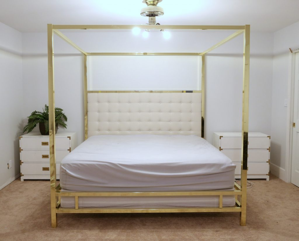 Awesome I got this amazing gold brass bed from Overstock you can find it HERE The nightstands are from Ave Home they are the Small Harper Campaign