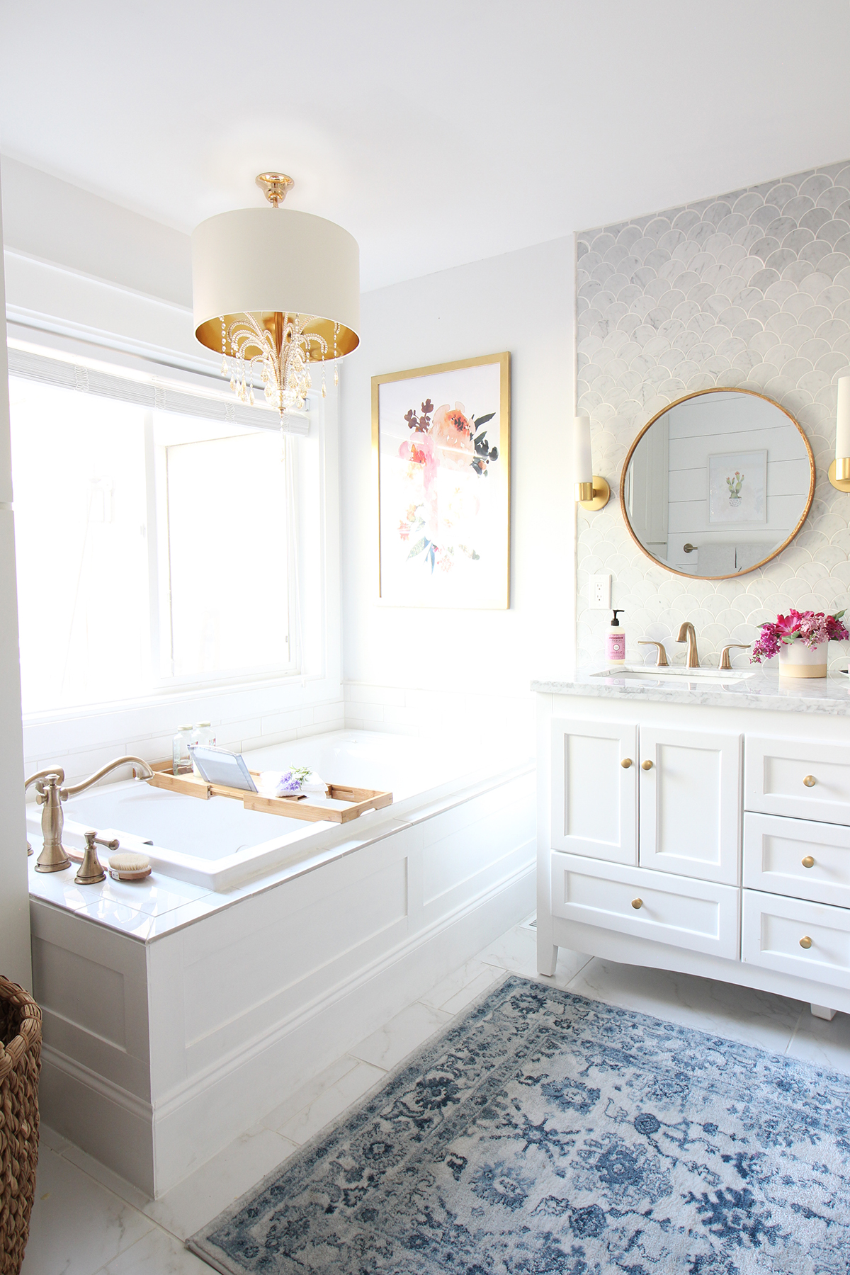 Prescott view home reno master bathroom reveal classy clutter the floors make the space look bright and clean i chose the carrara polished porcelain tile that looks exactly like real carrara marble but is so much more dailygadgetfo Choice Image