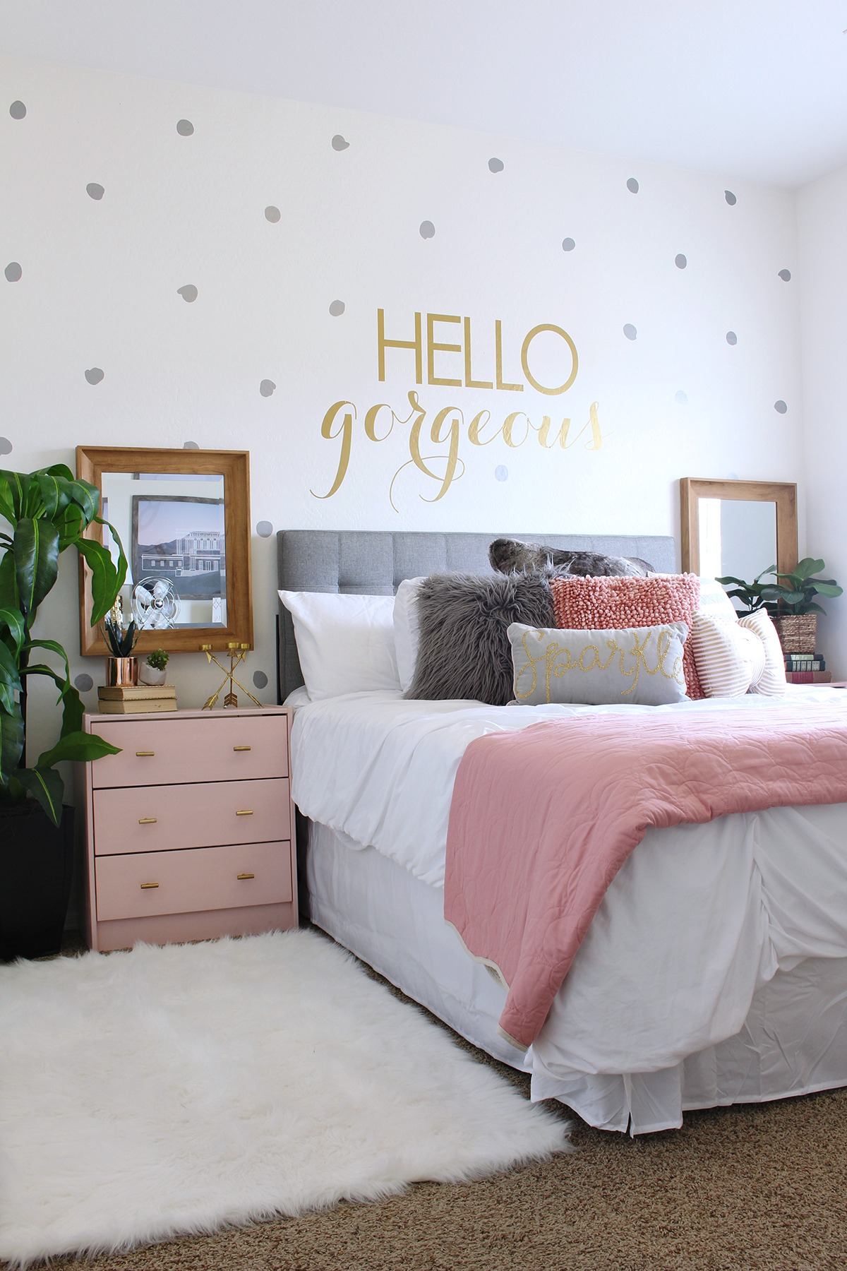I completed Karli's room makeover on a $300-400 budget and also used  several extra decor pieces that I had on hand. First, I created a focal  wall with these ...