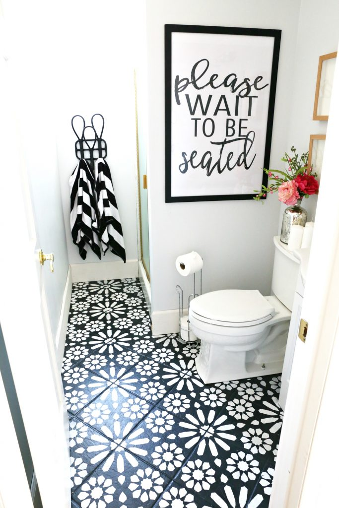 Modern Ranch Reno Half Bathroom Flooring Done Cheap And Easy Our Makeover Classy Clutter