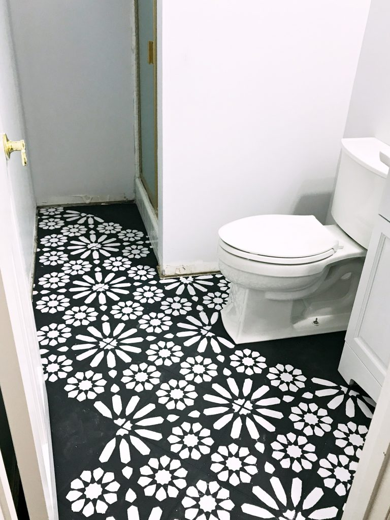 Modern Ranch Reno: Half Bathroom Flooring Done Cheap and Easy- Our ...