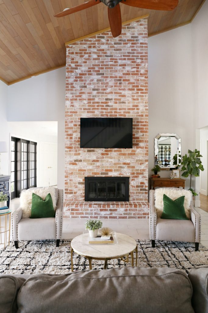 Modern ranch reno how to re grout a brick fireplace - How to make a brick fireplace look modern ...