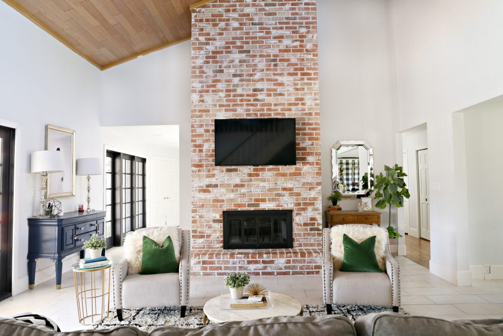 modern ranch reno: how to re-grout a brick fireplace - classy clutter