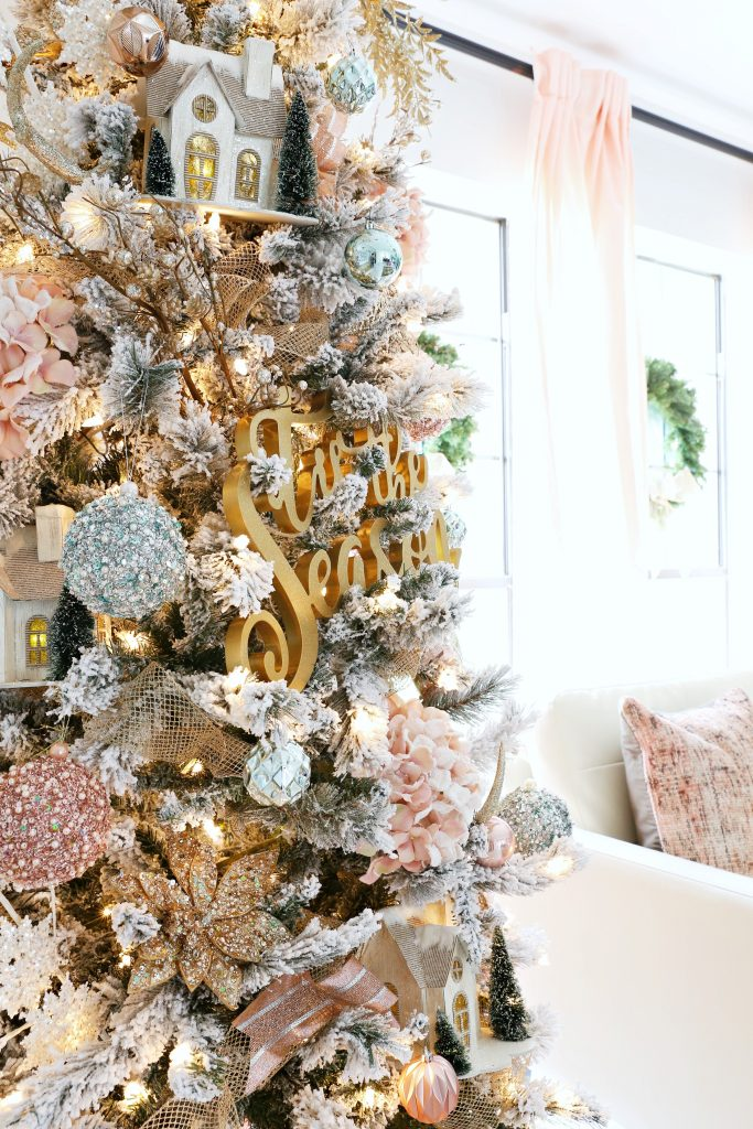 How To Trim Out Your Flocked Christmas Tree With Pink Accents