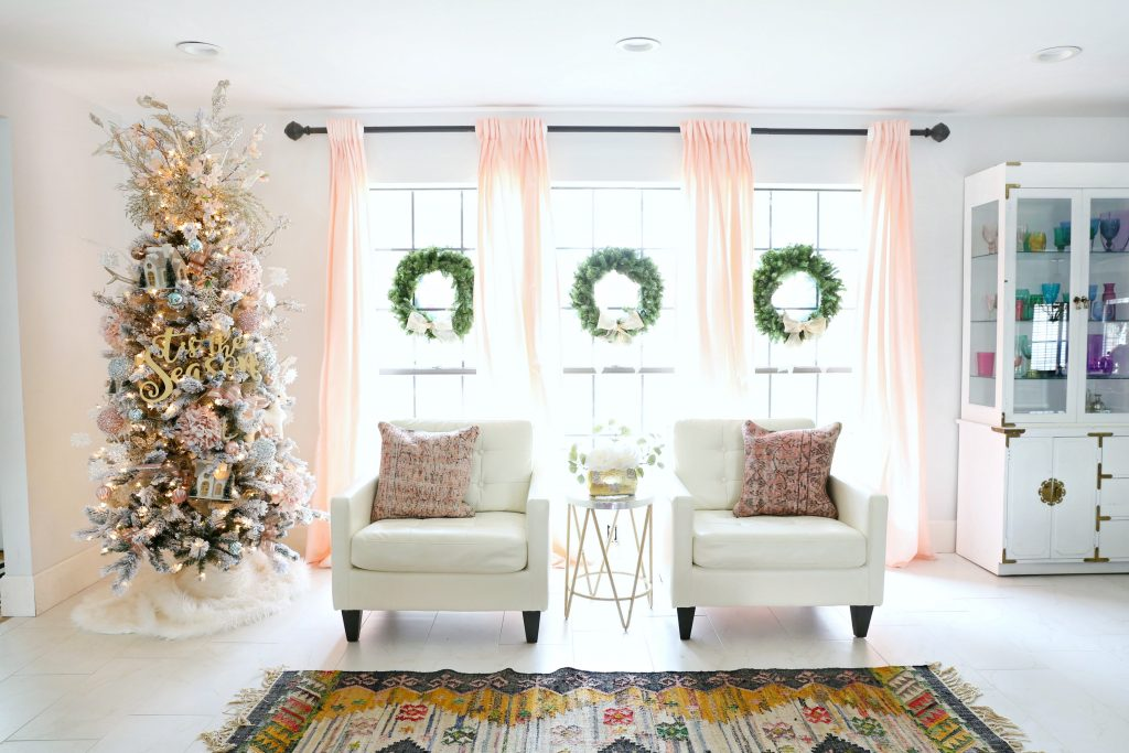 Flocked Christmas Tree Ideas with gold and pink