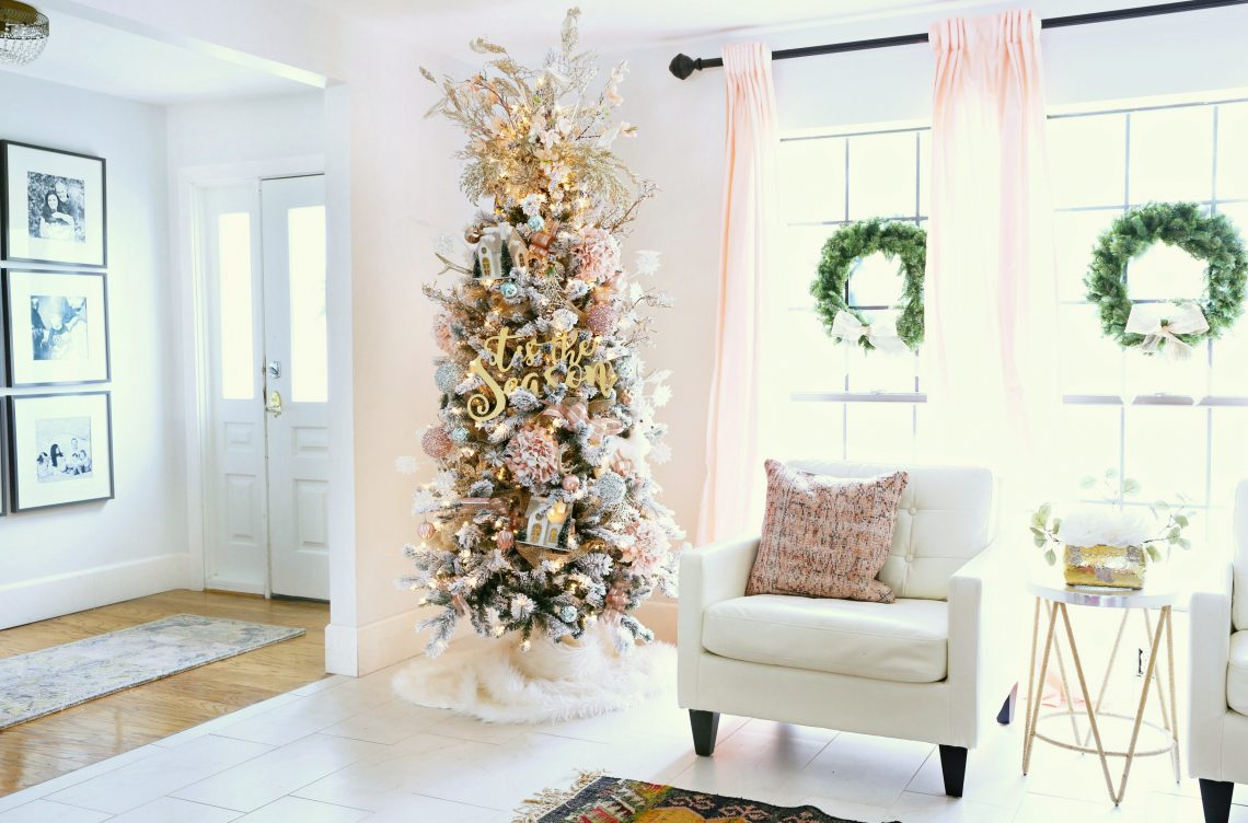 How To Trim Out Your Flocked Christmas Tree With Pink