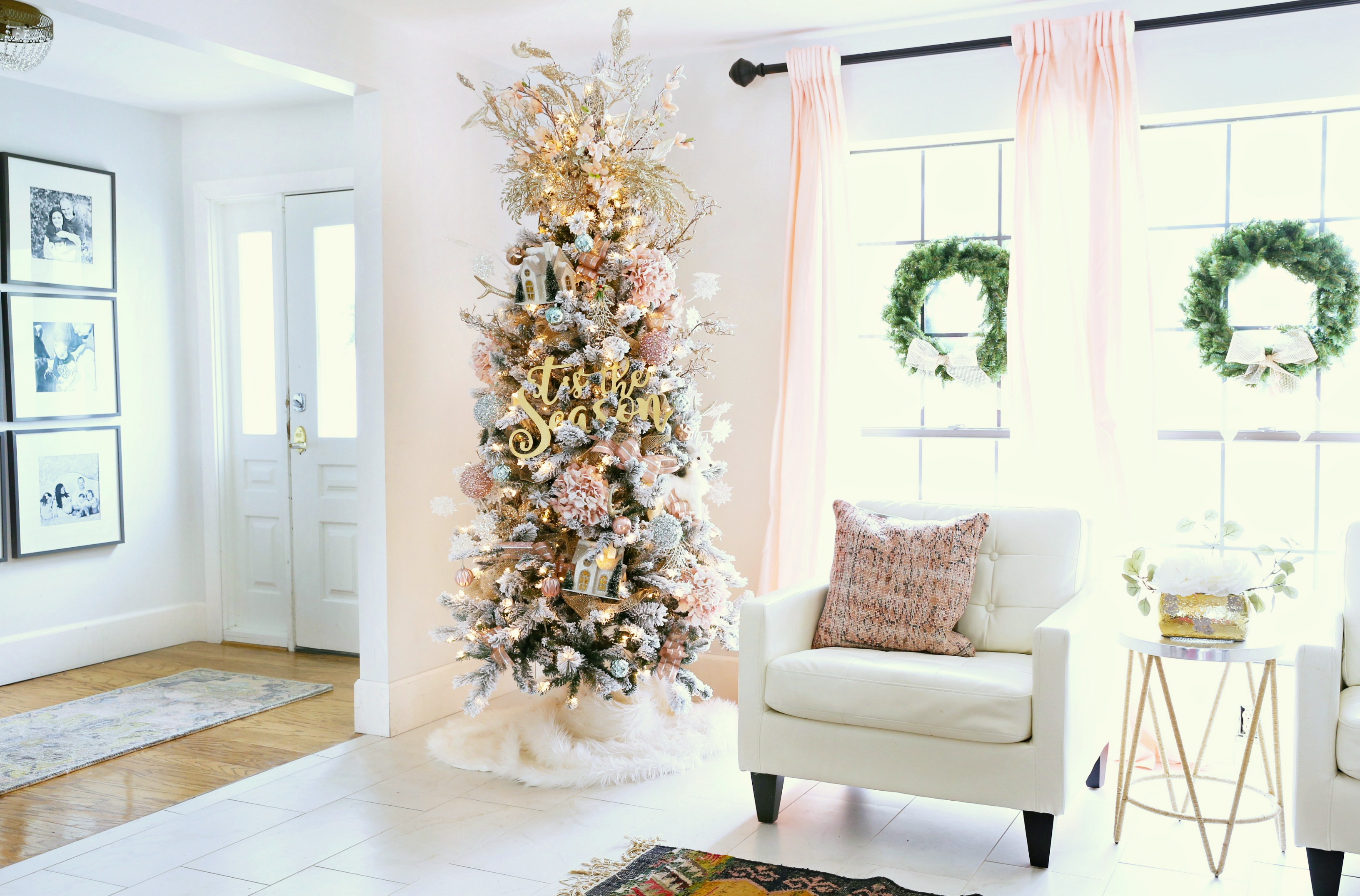 How to trim out your Flocked Christmas Tree with Pink Accents ...