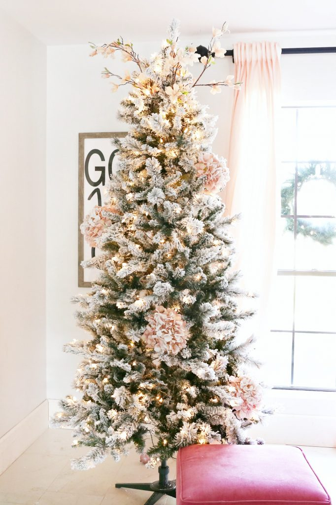 Christmas Tree Spray.Flocked Christmas Tree With Pink And Gold Accents Classy