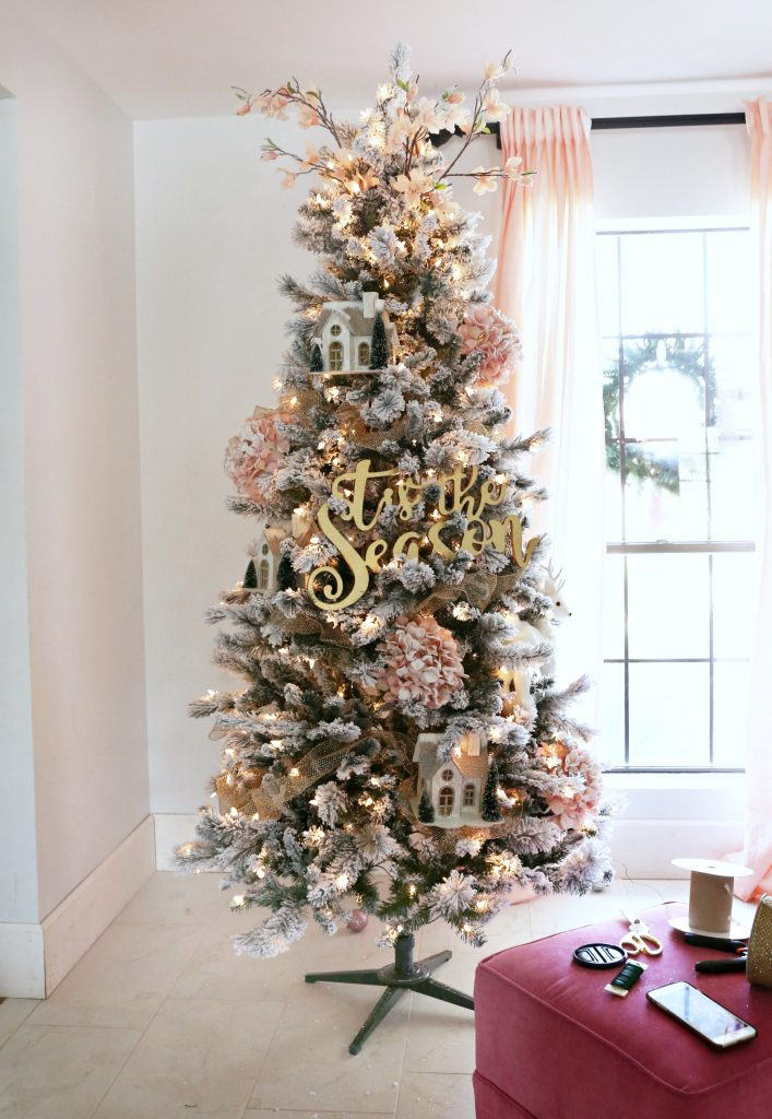 How to trim out your Flocked Christmas Tree with Pink ...