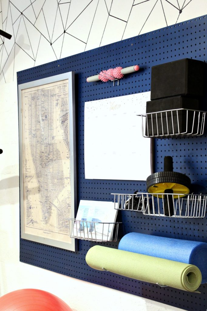 Easy DIY Project Home Gym Organizer using a pegboard
