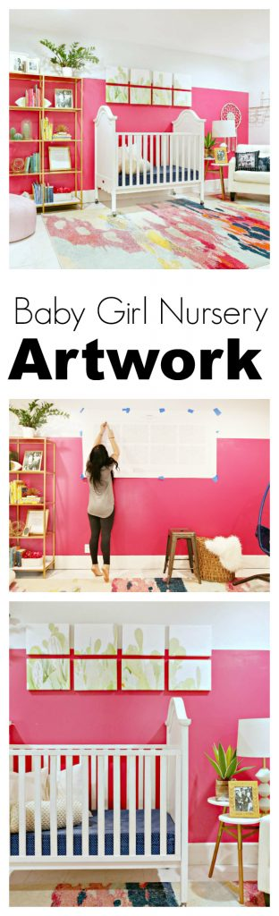 Baby Girl Nursery Artwork- I love this artwork work. It's a large scale piece of art done in a really cool modern way.