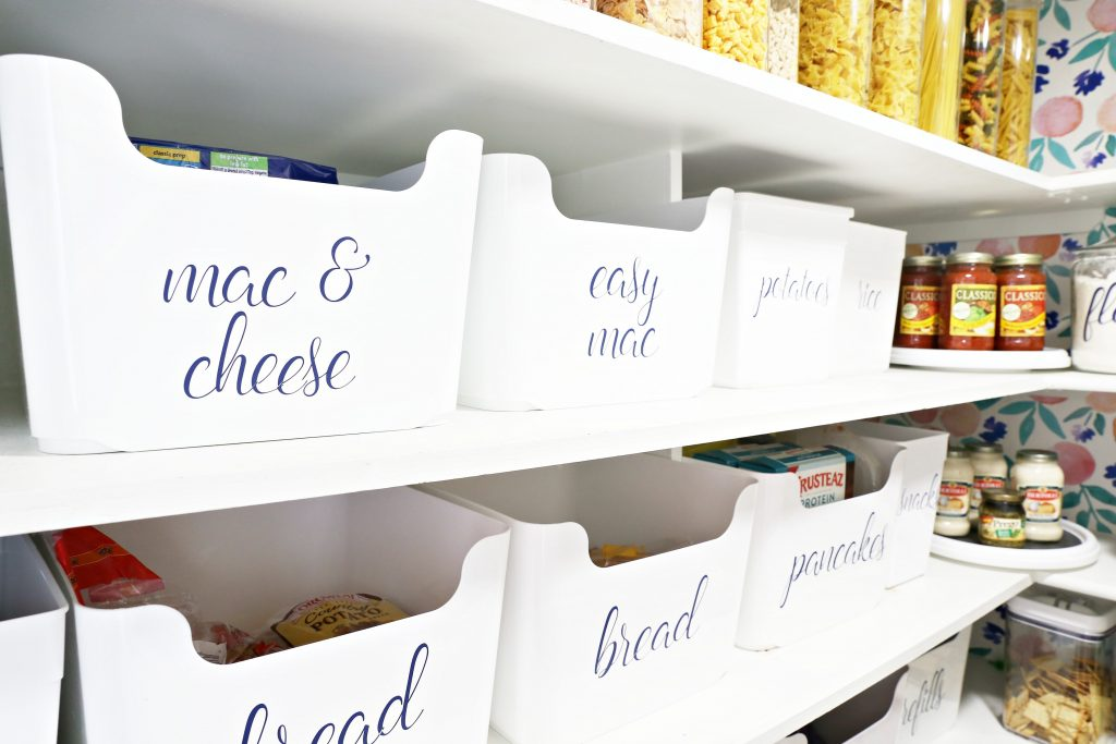 pantry label bins with labels