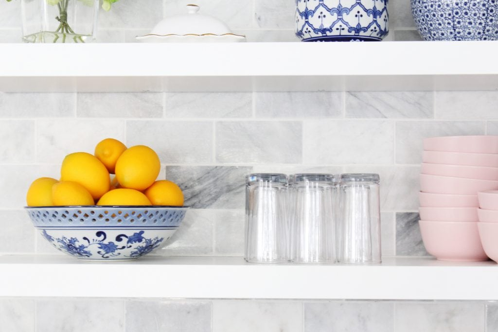 How to install floating shelves over a backsplash