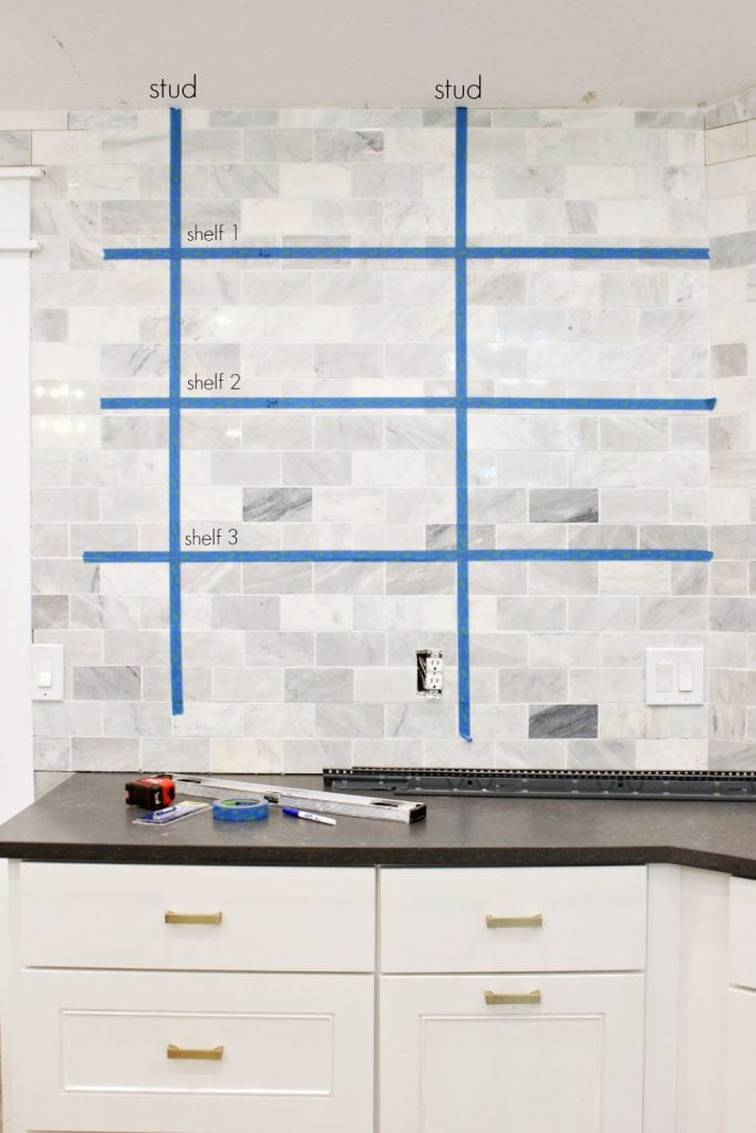 How to install floating shelves over tile