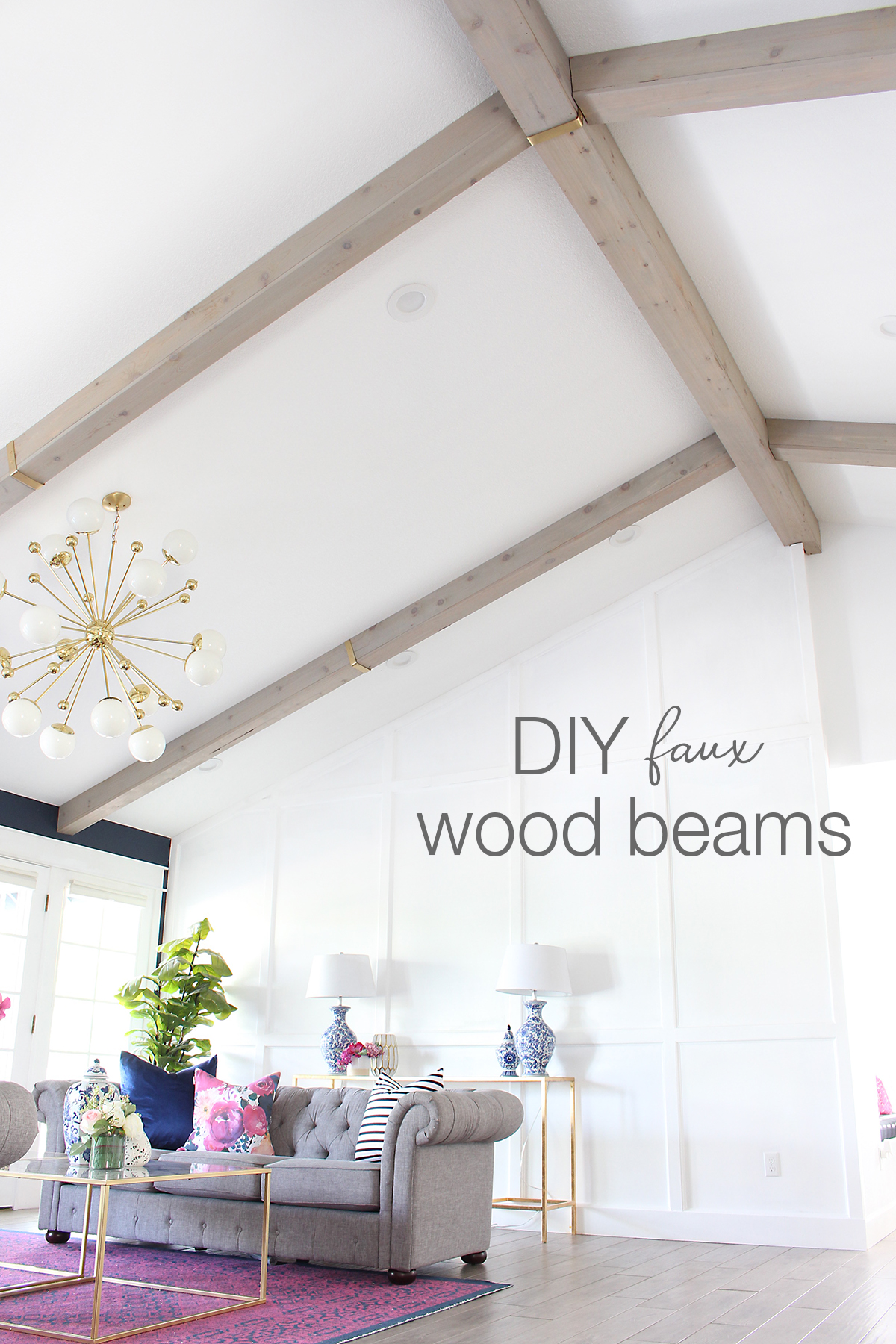 Tutorial for how to make DIY Faux Wood Beams