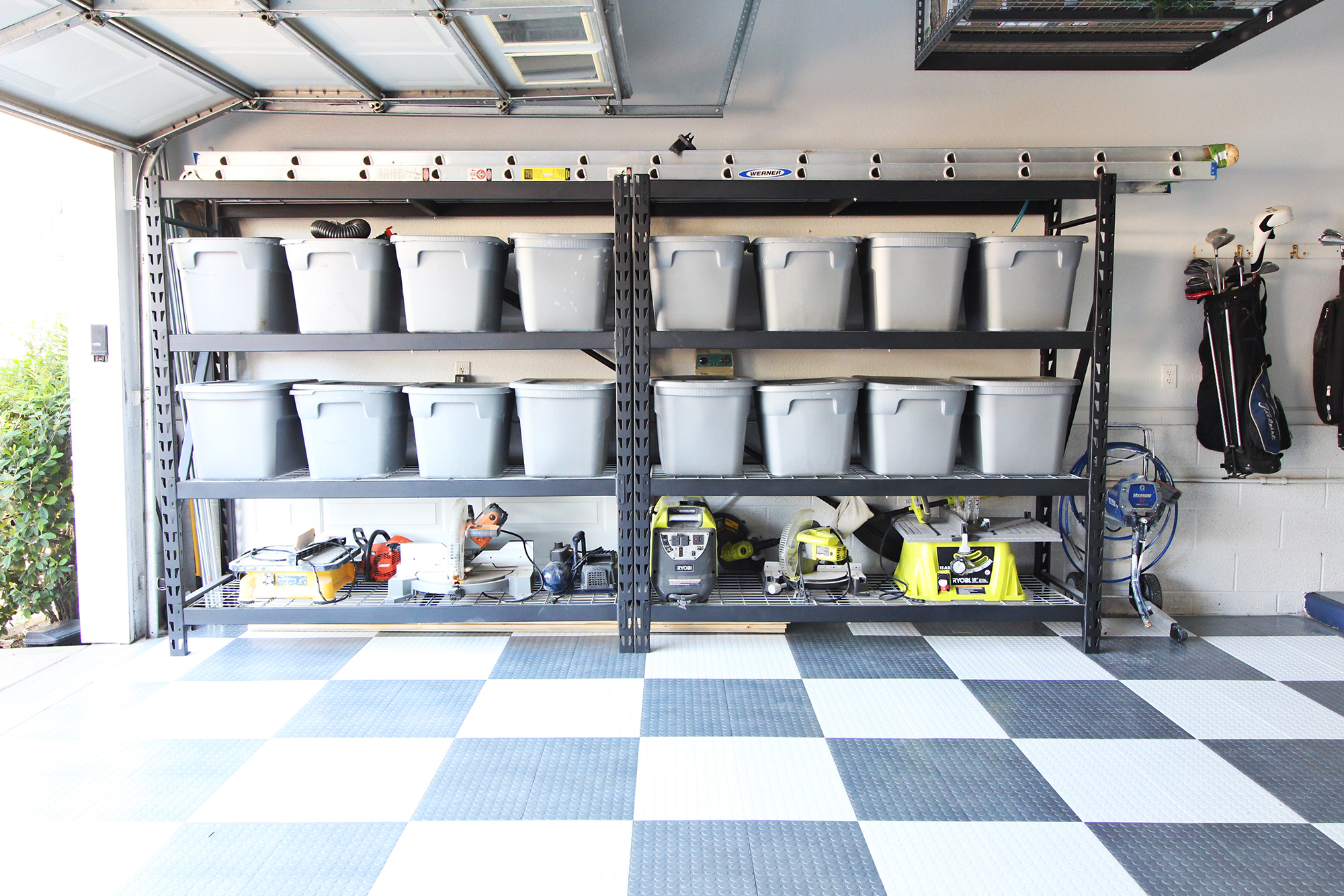 DIY Garage Makeover - shelving