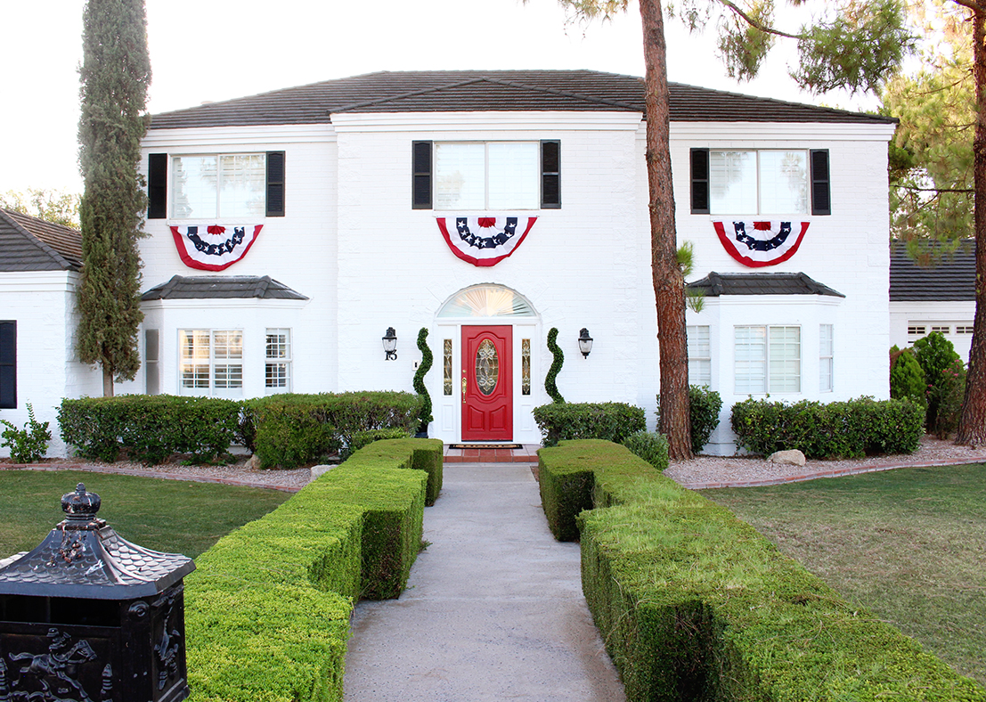 White Brick Colonial House Exterior